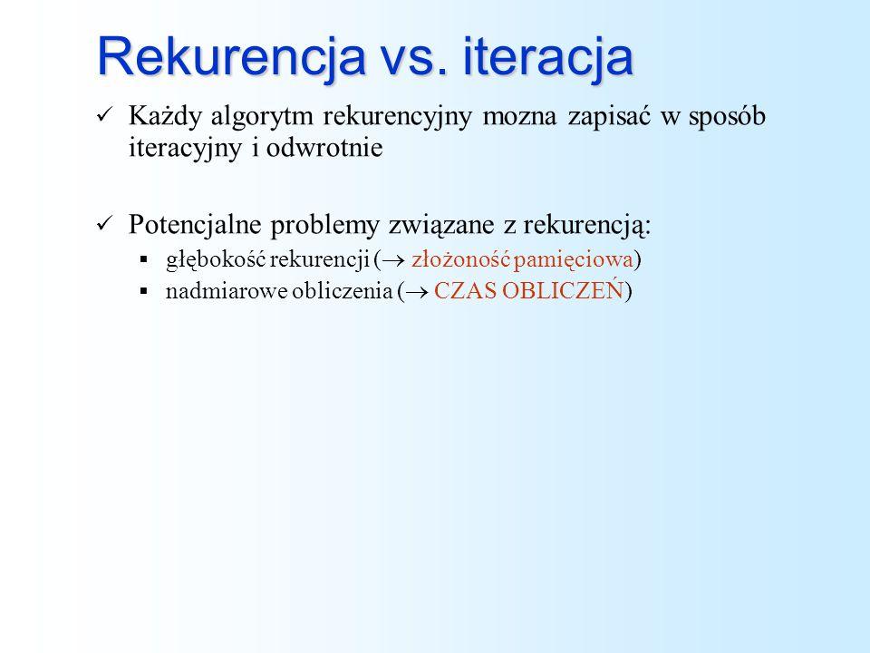 Rekurencja vs. iteracja