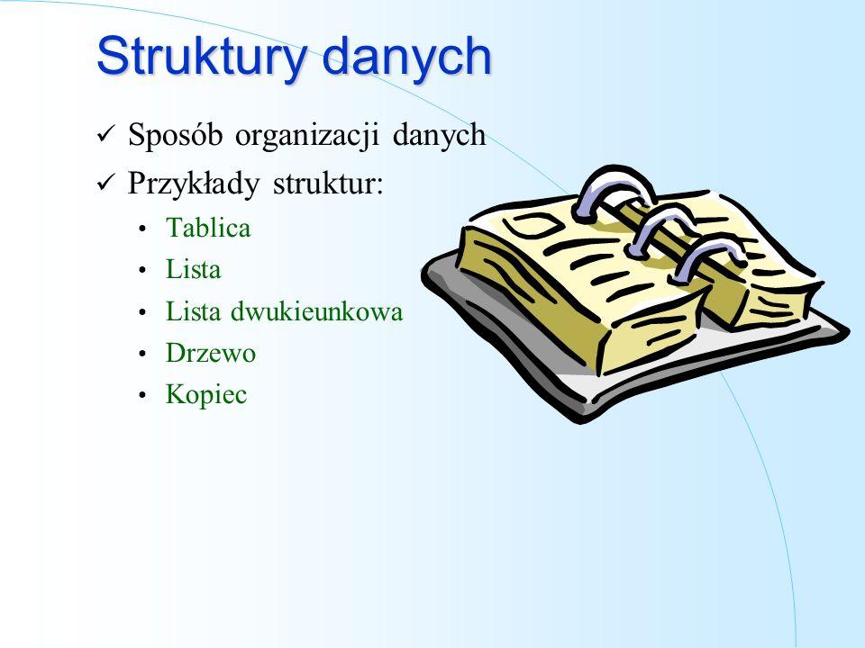 Struktury danych Sposób organizacji danych Przykłady struktur: Tablica