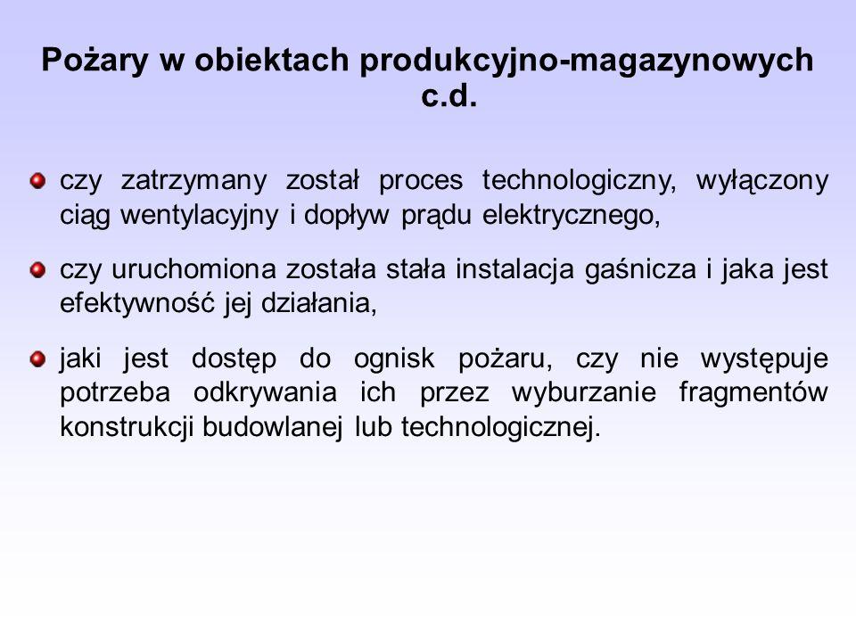 Pożary w obiektach produkcyjno-magazynowych c.d.