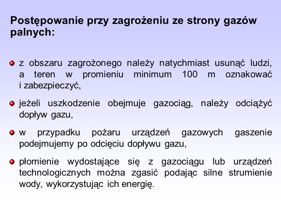 Postępowanie przy zagrożeniu ze strony gazów palnych: