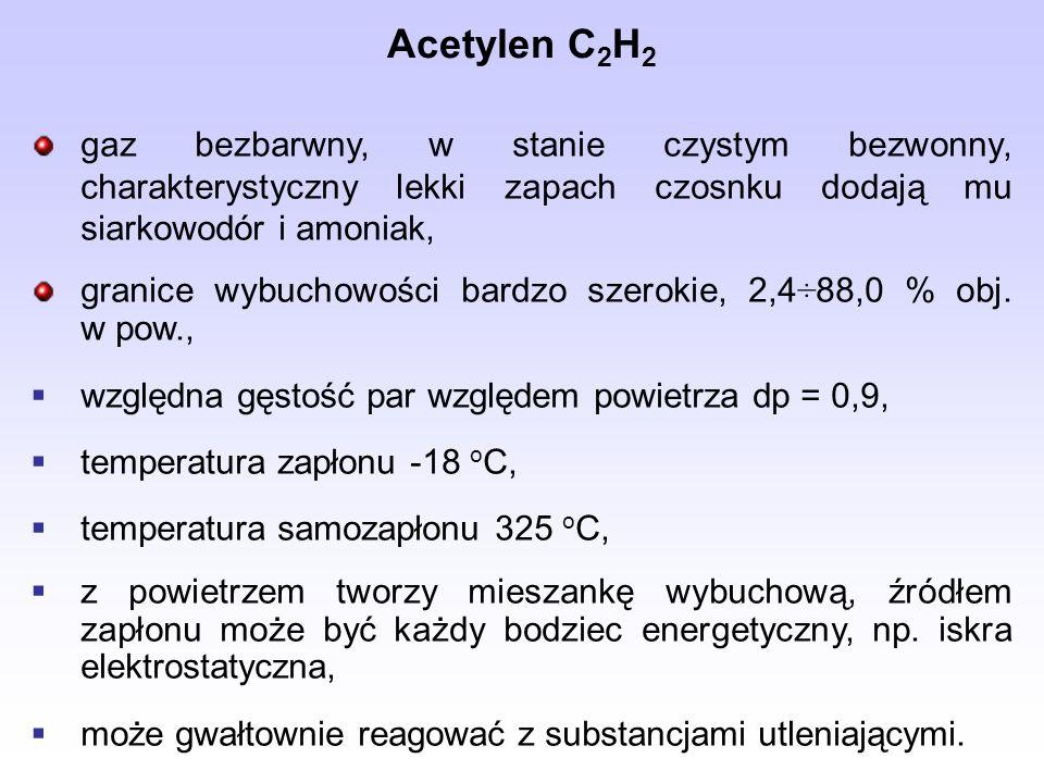 Acetylen C2H2 gaz bezbarwny, w stanie czystym bezwonny, charakterystyczny lekki zapach czosnku dodają mu siarkowodór i amoniak,