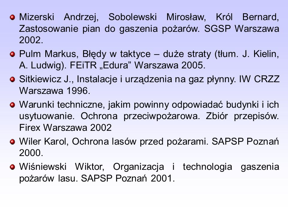 Mizerski Andrzej, Sobolewski Mirosław, Król Bernard, Zastosowanie pian do gaszenia pożarów. SGSP Warszawa 2002.
