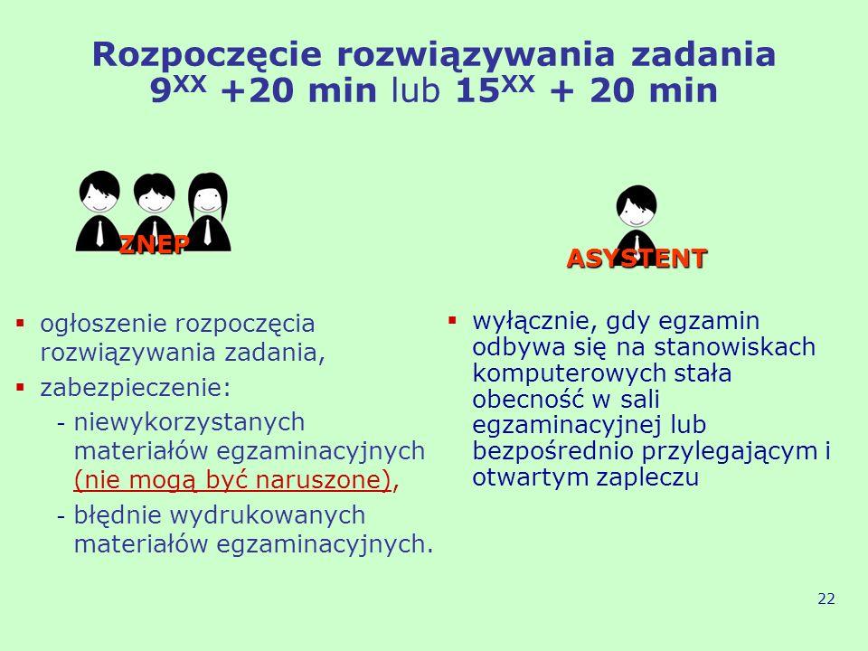 Rozpoczęcie rozwiązywania zadania 9XX +20 min lub 15XX + 20 min