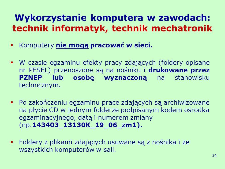 Wykorzystanie komputera w zawodach: technik informatyk, technik mechatronik