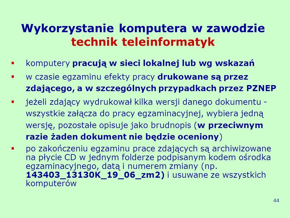 Wykorzystanie komputera w zawodzie technik teleinformatyk