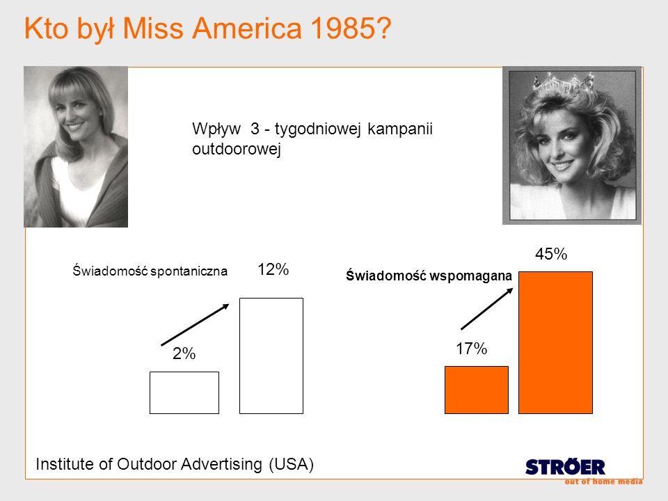 Kto był Miss America 1985 Wpływ 3 - tygodniowej kampanii outdoorowej