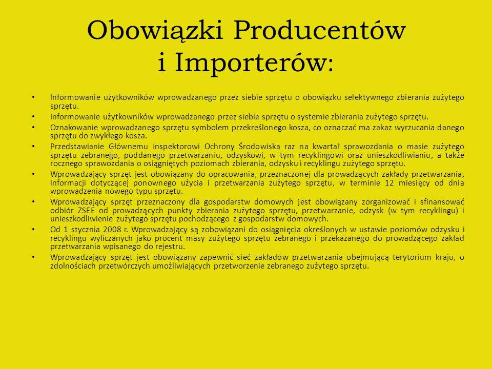 Obowiązki Producentów i Importerów: