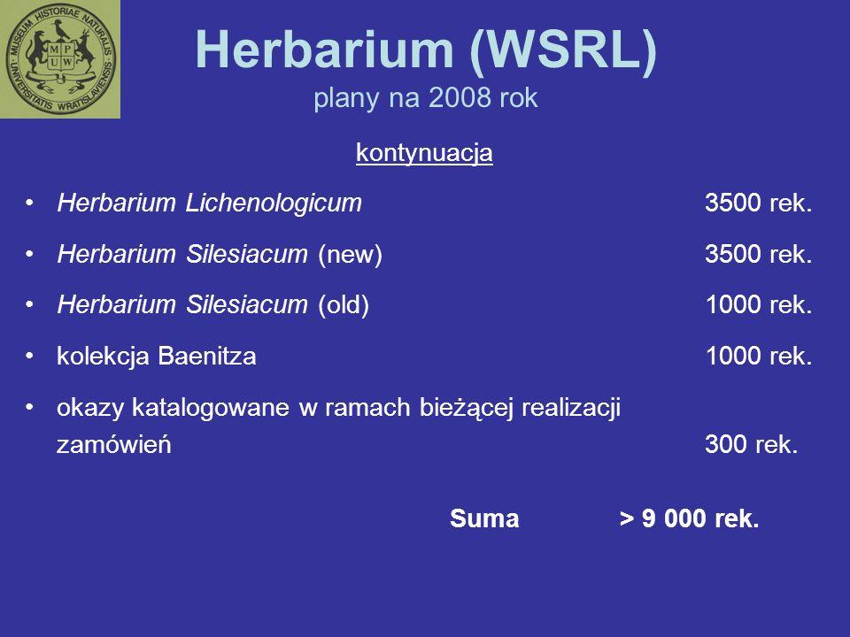 Herbarium (WSRL) plany na 2008 rok