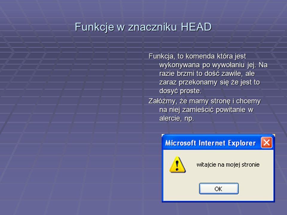 Funkcje w znaczniku HEAD