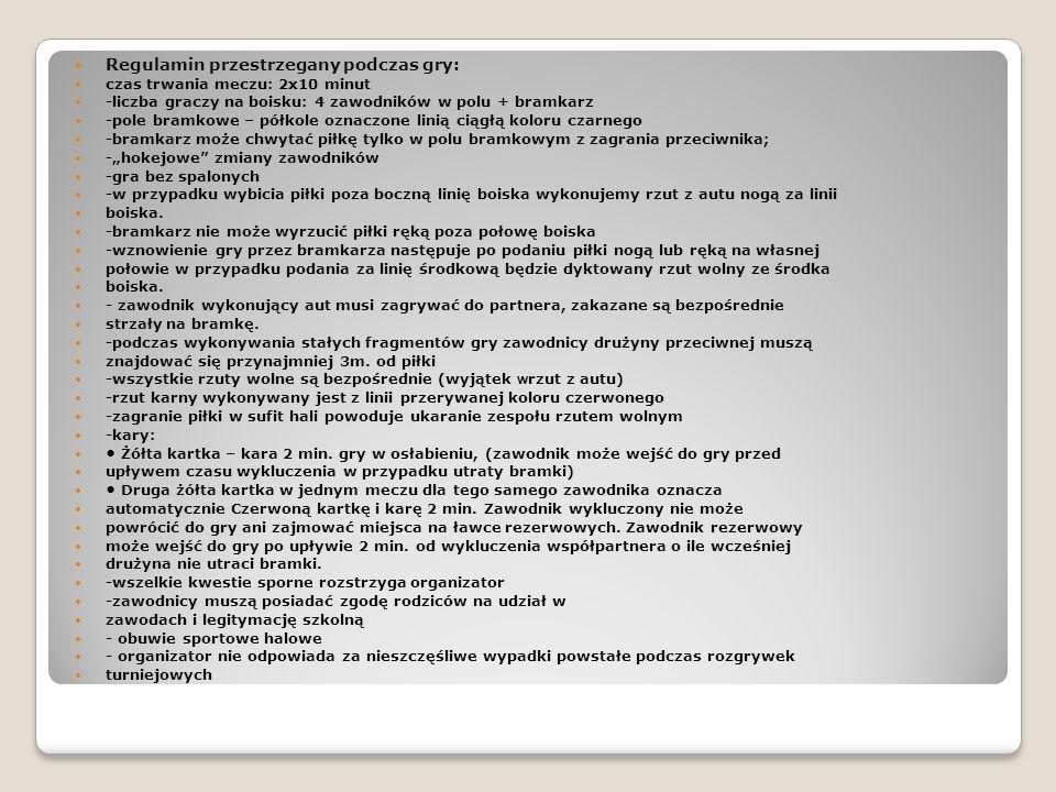 Regulamin przestrzegany podczas gry: