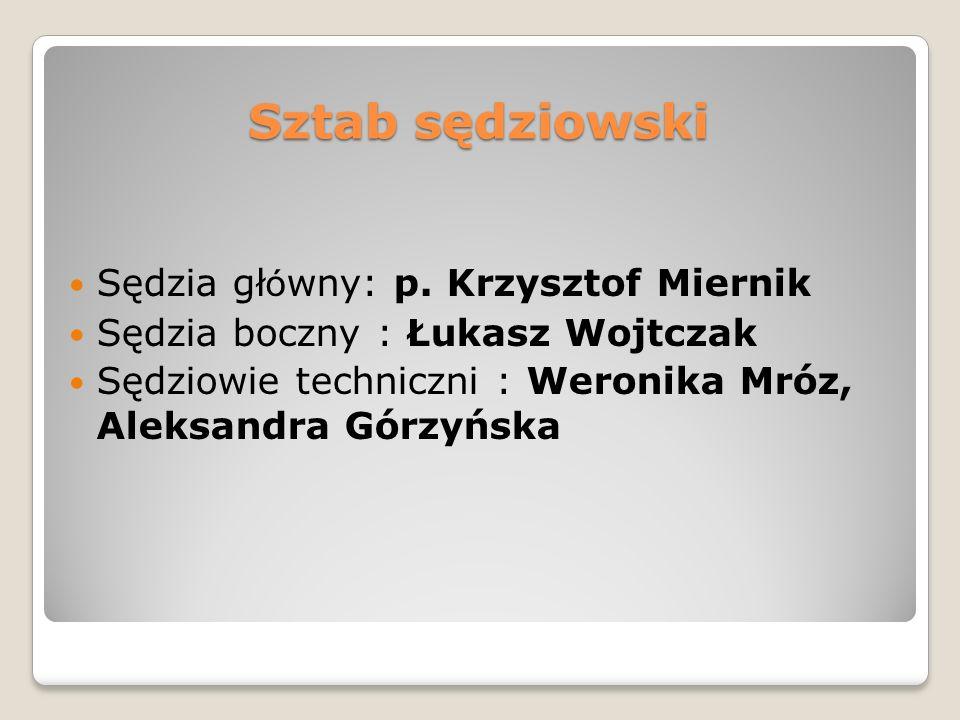 Sztab sędziowski Sędzia główny: p. Krzysztof Miernik