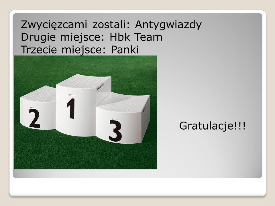 Zwycięzcami zostali: Antygwiazdy Drugie miejsce: Hbk Team Trzecie miejsce: Panki Gratulacje!!!