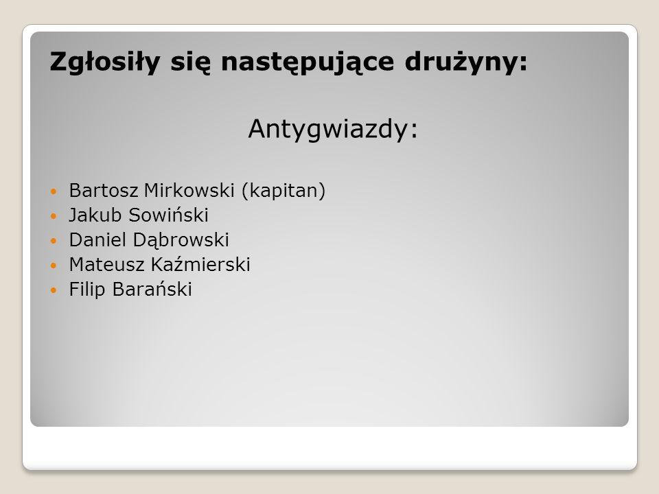 Zgłosiły się następujące drużyny: Antygwiazdy: