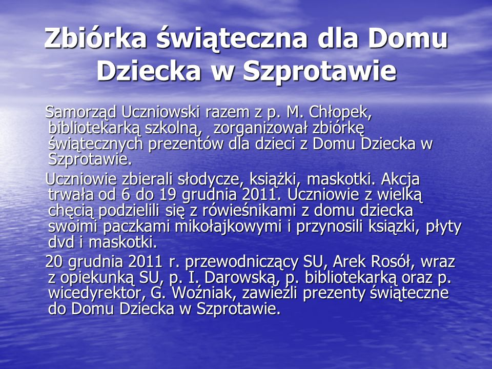 Zbiórka świąteczna dla Domu Dziecka w Szprotawie