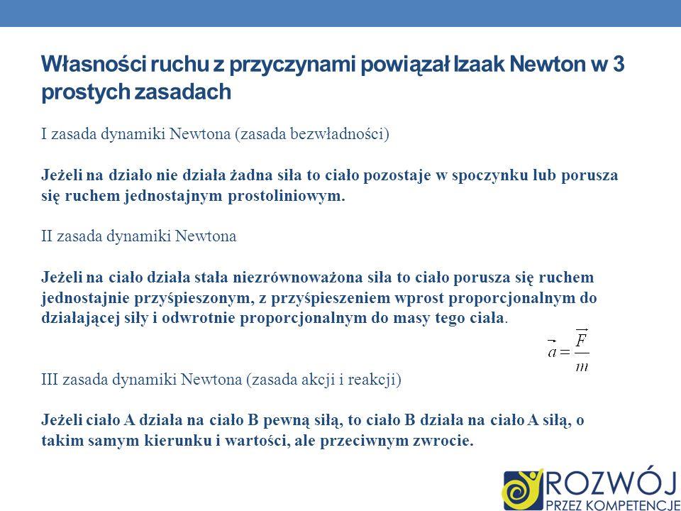 Własności ruchu z przyczynami powiązał Izaak Newton w 3 prostych zasadach