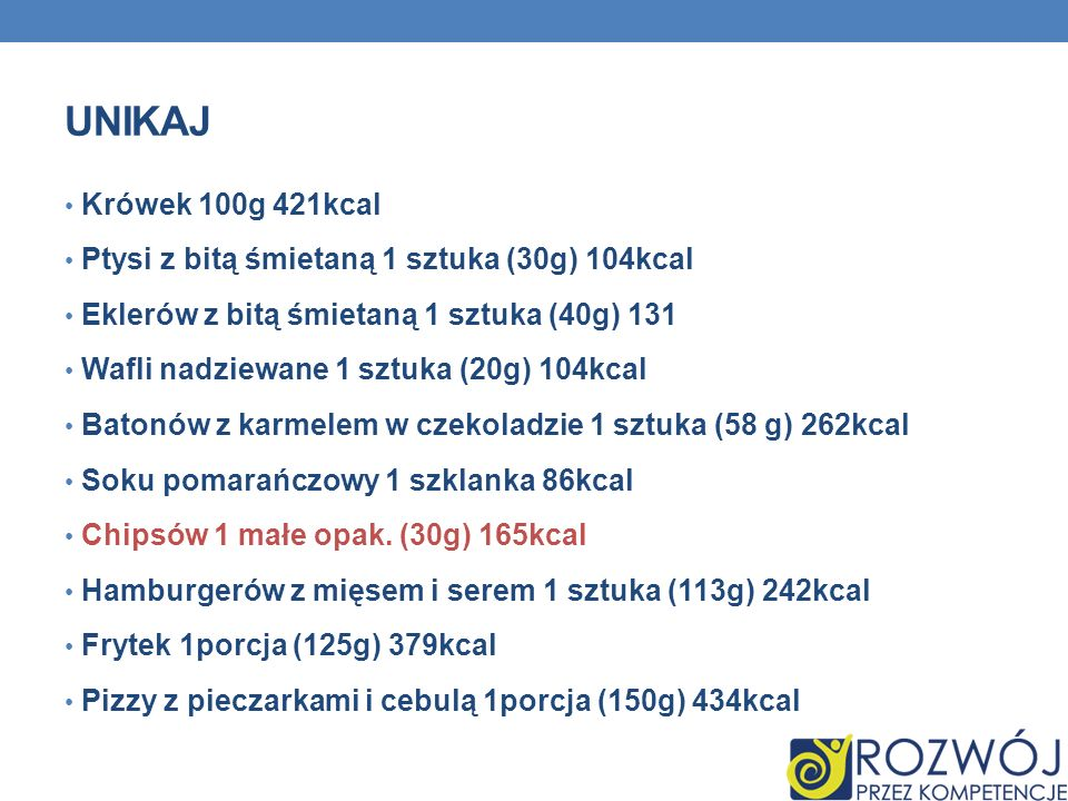 Unikaj Krówek 100g 421kcal. Ptysi z bitą śmietaną 1 sztuka (30g) 104kcal. Eklerów z bitą śmietaną 1 sztuka (40g) 131.