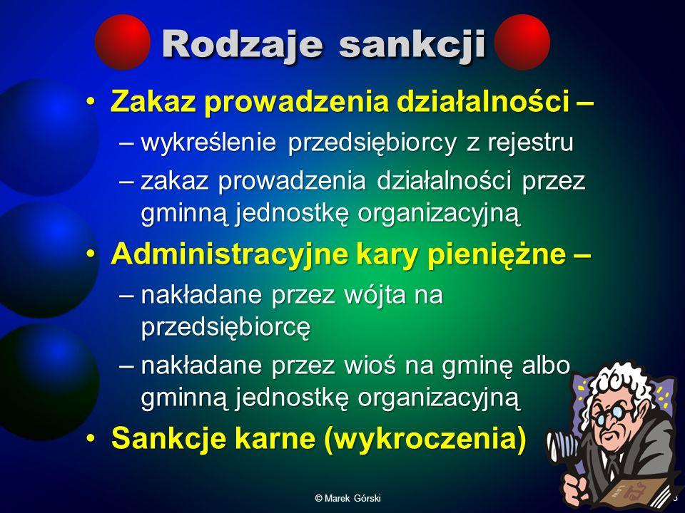 Rodzaje sankcji Zakaz prowadzenia działalności –