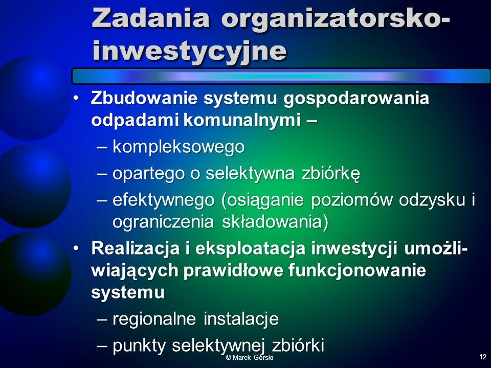 Zadania organizatorsko-inwestycyjne