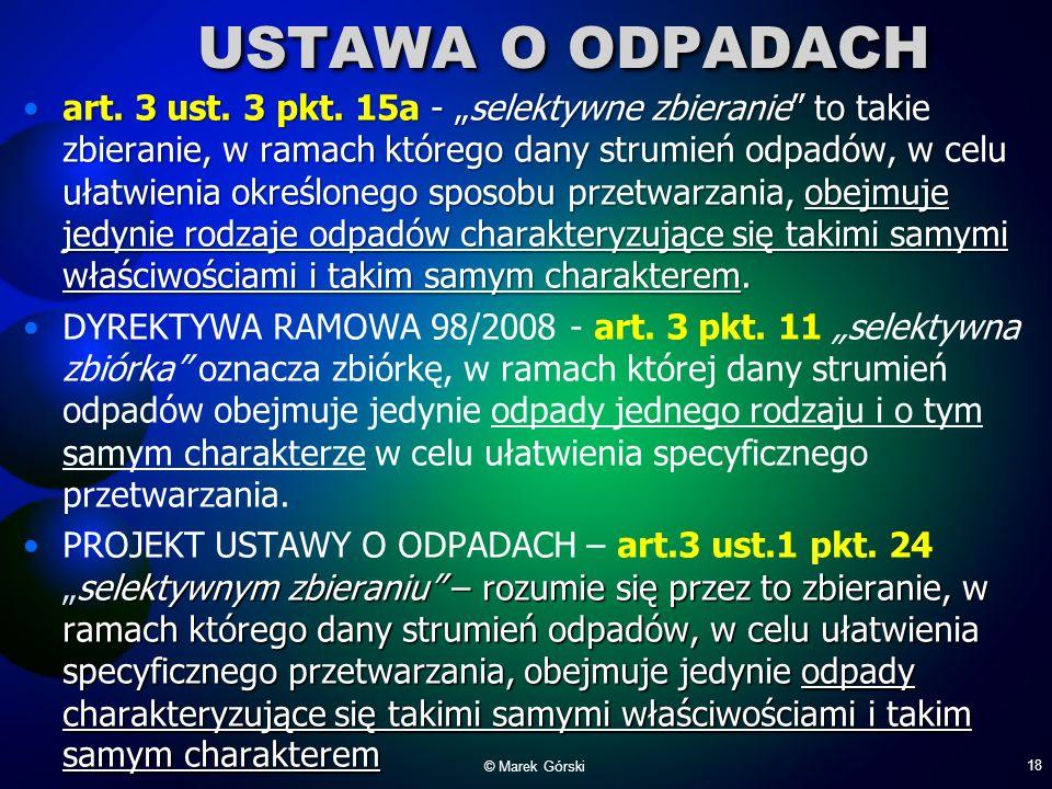 USTAWA O ODPADACH