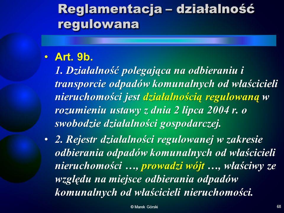 Reglamentacja – działalność regulowana