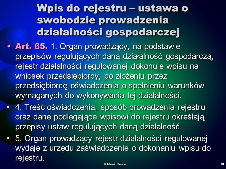 Wpis do rejestru – ustawa o swobodzie prowadzenia działalności gospodarczej