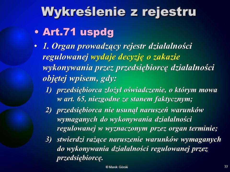 Wykreślenie z rejestru