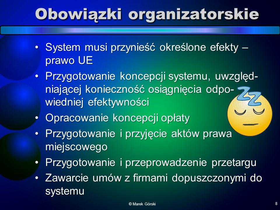 Obowiązki organizatorskie