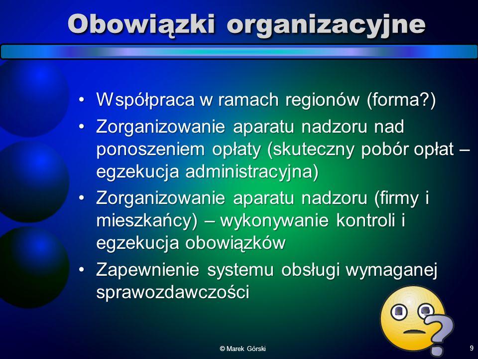 Obowiązki organizacyjne