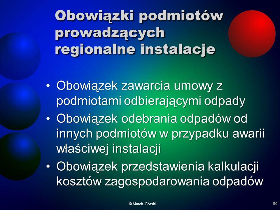 Obowiązki podmiotów prowadzących regionalne instalacje