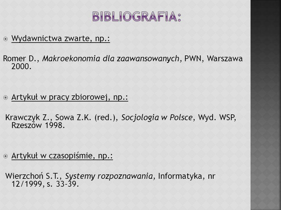 Bibliografia: Wydawnictwa zwarte, np.: