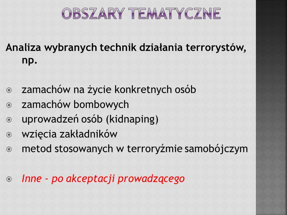 Obszary tematyczne Analiza wybranych technik działania terrorystów, np. zamachów na życie konkretnych osób.