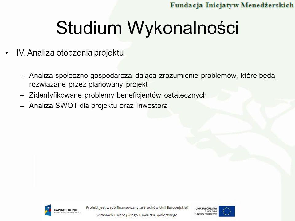 Studium Wykonalności IV. Analiza otoczenia projektu