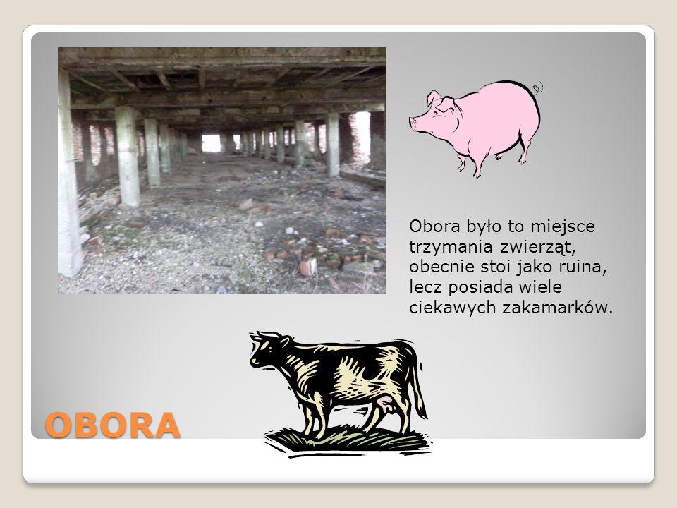 Obora było to miejsce trzymania zwierząt, obecnie stoi jako ruina, lecz posiada wiele ciekawych zakamarków.