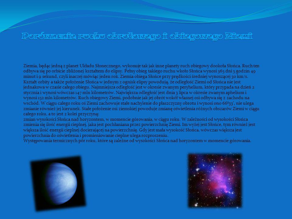 Porównanie ruchu obrotowego i obiegowego Ziemi
