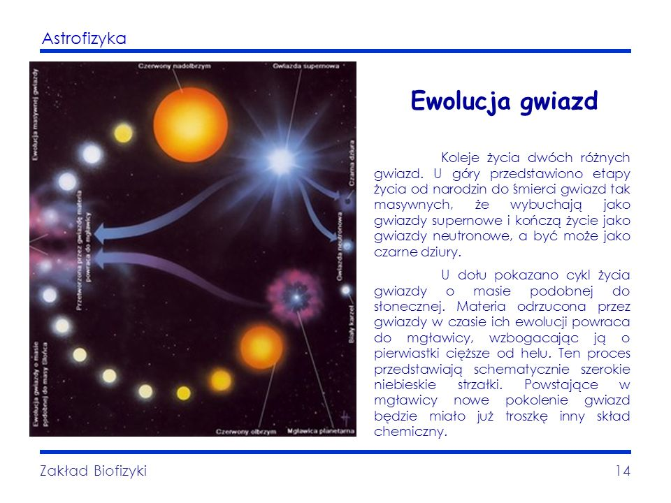 Ewolucja gwiazd Zakład Biofizyki