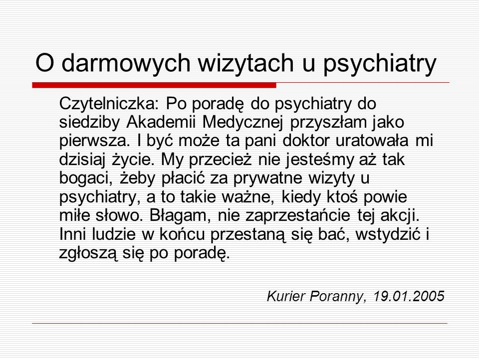 O darmowych wizytach u psychiatry