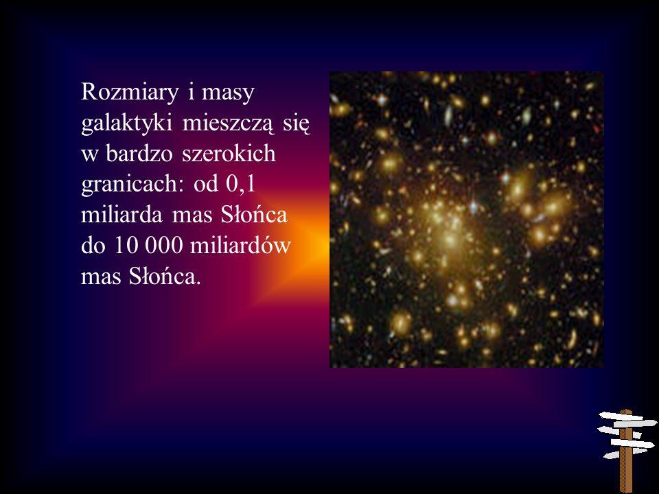 Rozmiary i masy galaktyki mieszczą się w bardzo szerokich granicach: od 0,1 miliarda mas Słońca do 10 000 miliardów mas Słońca.