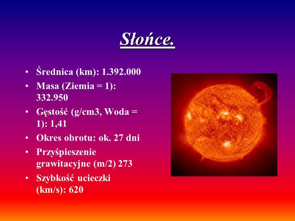 Słońce. Średnica (km): 1.392.000 Masa (Ziemia = 1): 332.950