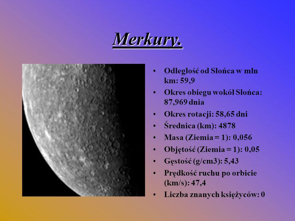 Merkury. Odległość od Słońca w mln km: 59,9
