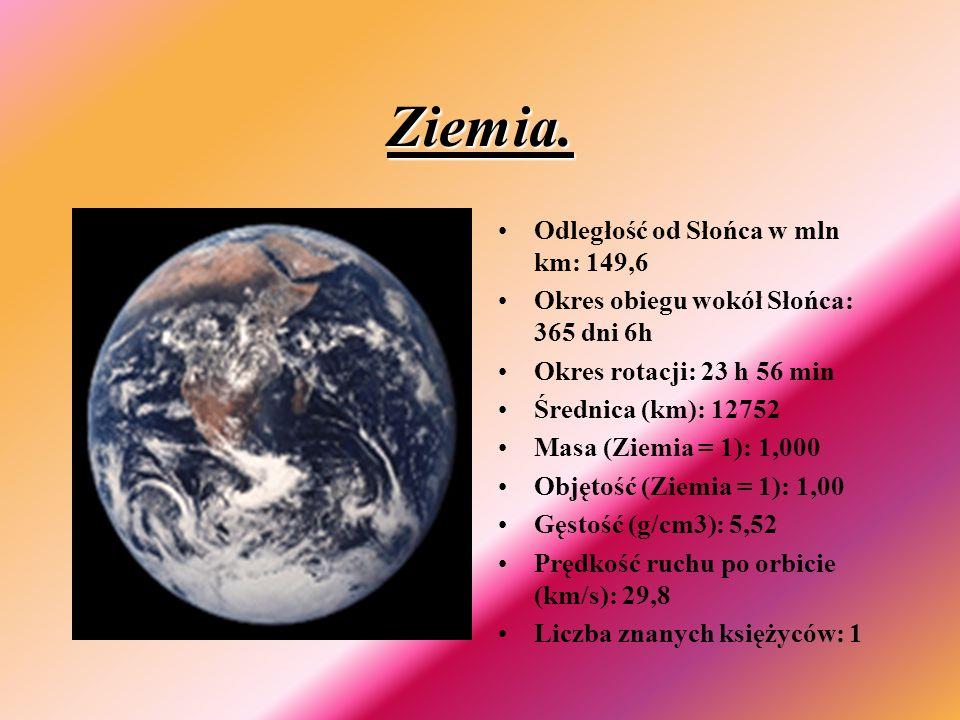 Ziemia. Odległość od Słońca w mln km: 149,6