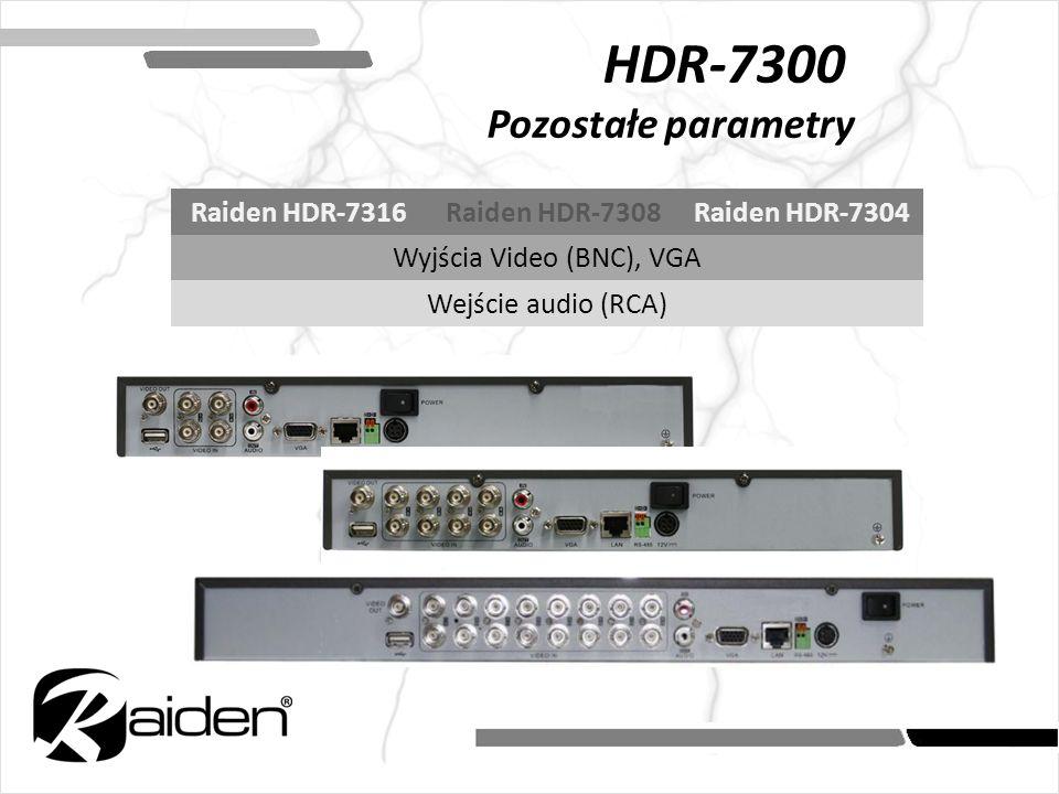 HDR-7300 Pozostałe parametry