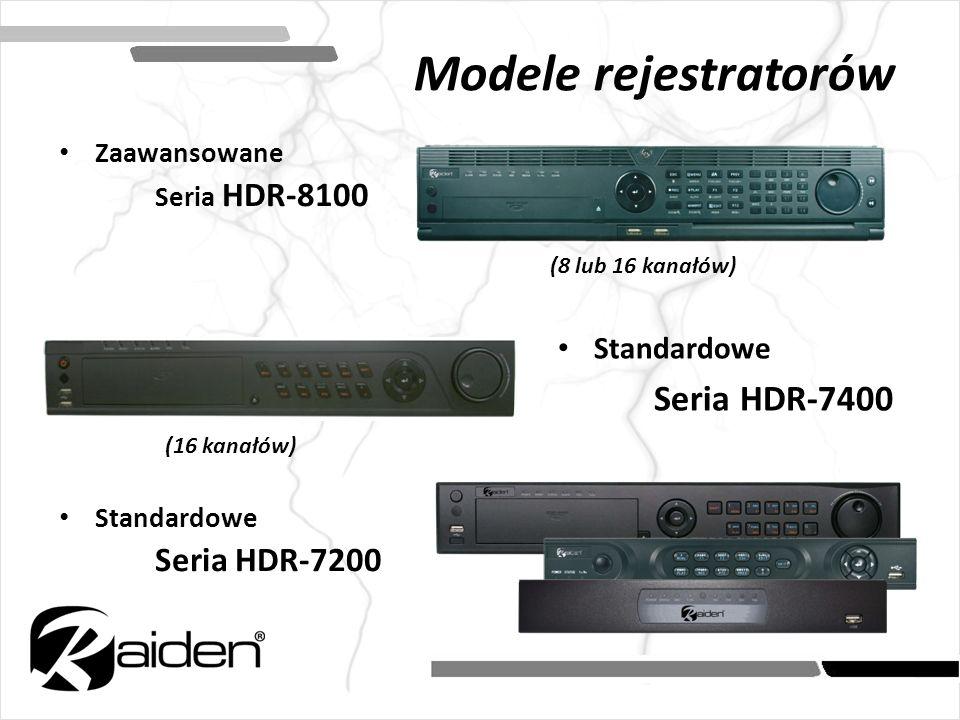 Modele rejestratorów Standardowe Seria HDR-7400 Zaawansowane