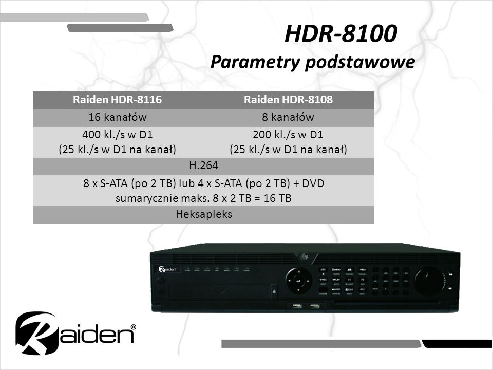 HDR-8100 Parametry podstawowe