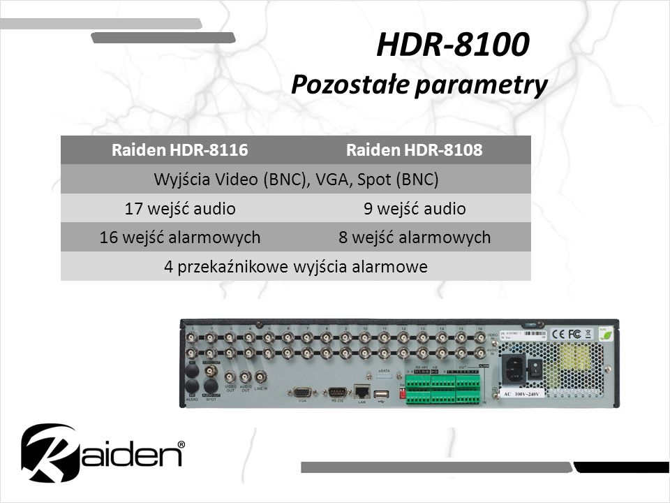 HDR-8100 Pozostałe parametry