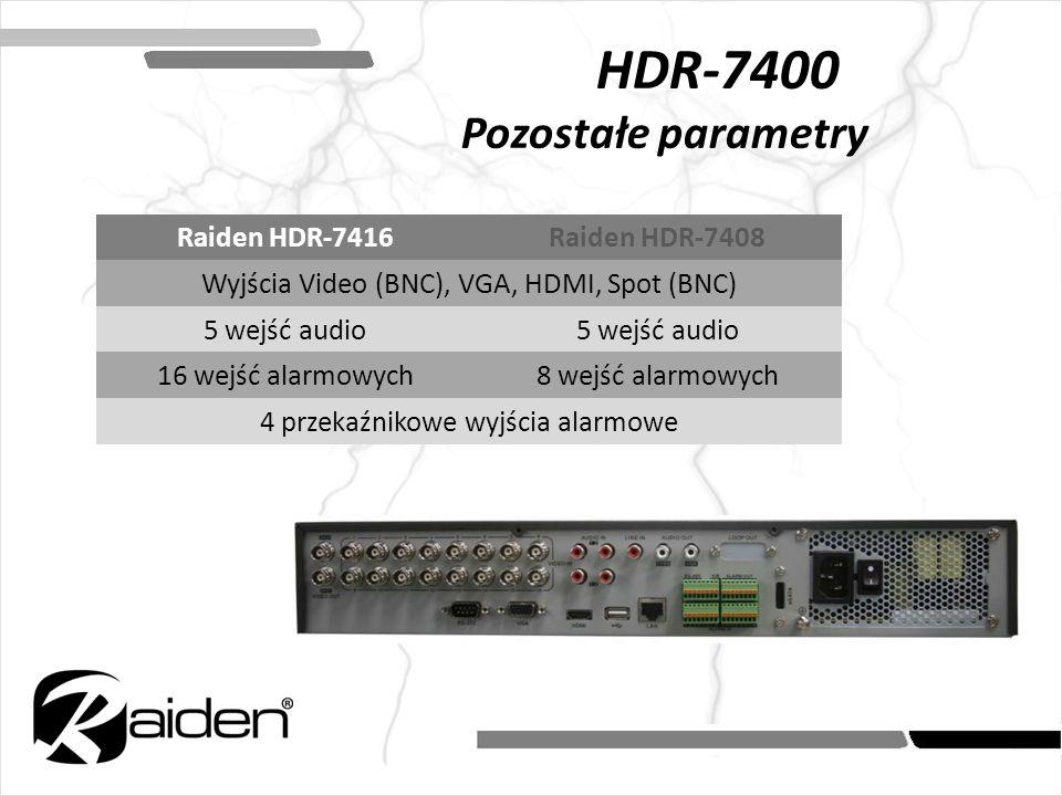 HDR-7400 Pozostałe parametry