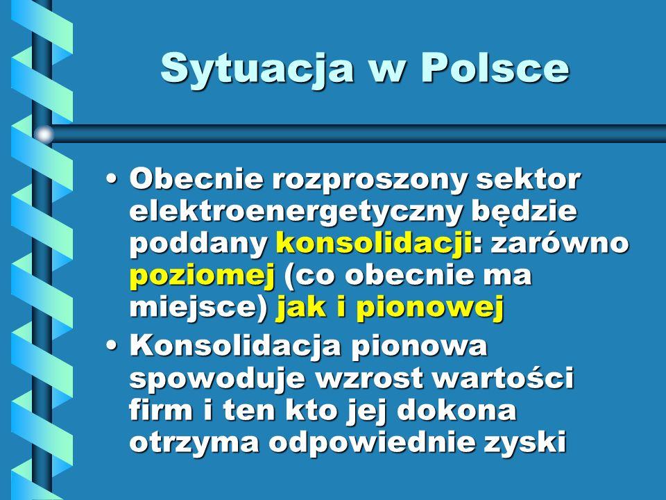 Sytuacja w Polsce Obecnie rozproszony sektor elektroenergetyczny będzie poddany konsolidacji: zarówno poziomej (co obecnie ma miejsce) jak i pionowej.