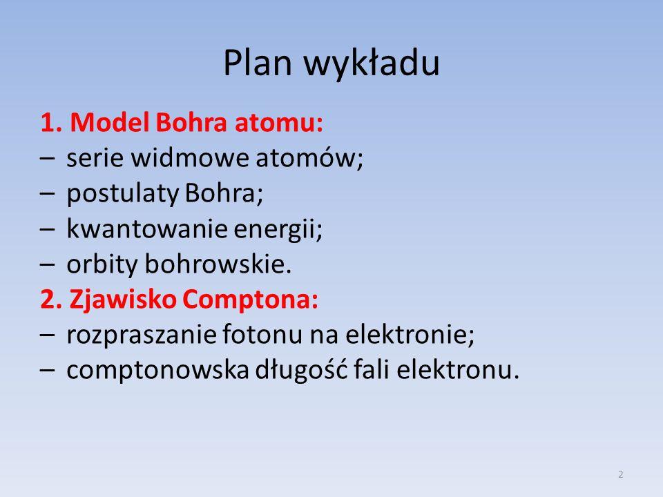 Plan wykładu 1. Model Bohra atomu: serie widmowe atomów;