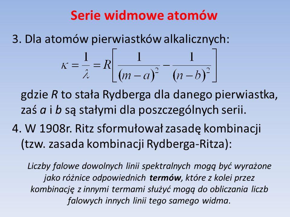 Serie widmowe atomów 3. Dla atomów pierwiastków alkalicznych: