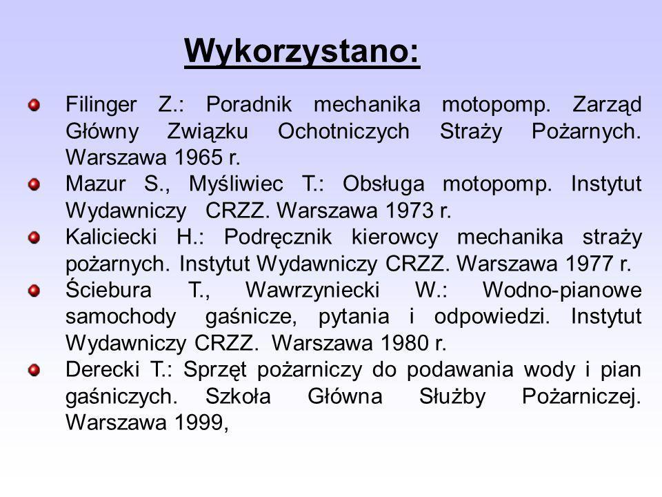 Wykorzystano:Filinger Z.: Poradnik mechanika motopomp. Zarząd Główny Związku Ochotniczych Straży Pożarnych. Warszawa 1965 r.