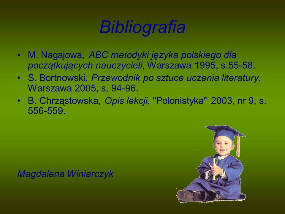 Bibliografia M. Nagajowa, ABC metodyki języka polskiego dla początkujących nauczycieli, Warszawa 1995, s.55-58.